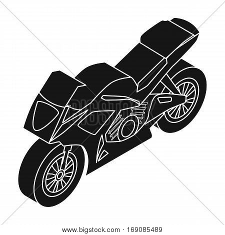Motorcycle icon in black design isolated on white background. Transportation symbol stock vector illustration.