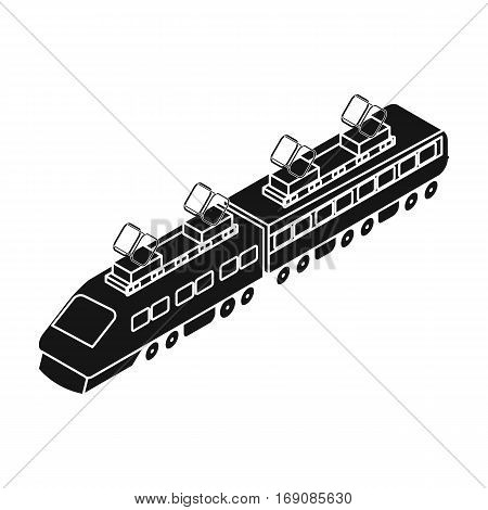 Train icon in black design isolated on white background. Transportation symbol stock vector illustration.