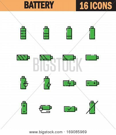 Battery flat icon set. Collection of high quality outline symbols for web design, mobile app. Battery vector thin line icons or logo.