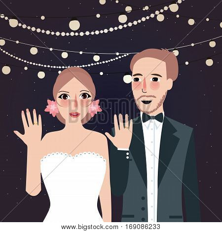 couple at wedding show their ring party at night light string hanging vector