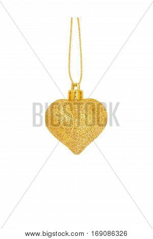 Gold Glitter Heart as Christmas decoration isolated on white background