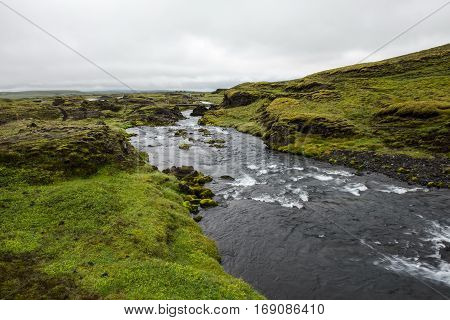 The river in the Icelandic outback green plains during summertime
