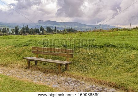 Wooden Seat At Park, Ecuador
