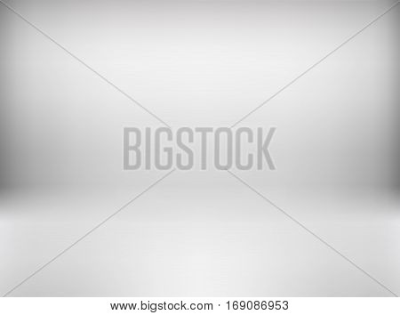 Vector empty white gray color studio room background. Template mock up for display or montage of product. Business realistic backdrop. Material design.