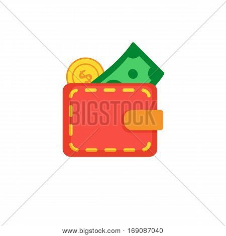 Red wallet with with golden coin and green dollar. Wallet isolated on white background.
