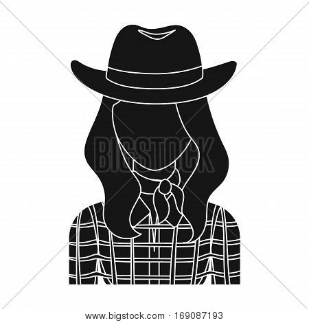 Cowgirl icon in monochrome design isolated on white background. Rodeo symbol stock vector illustration.