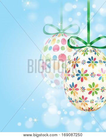 Set Of Colorful Easter Eggs On Shiny Background