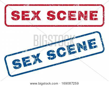 Sex Scene text rubber seal stamp watermarks. Vector style is blue and red ink tag inside rounded rectangular shape. Grunge design and unclean texture. Blue and red stickers.
