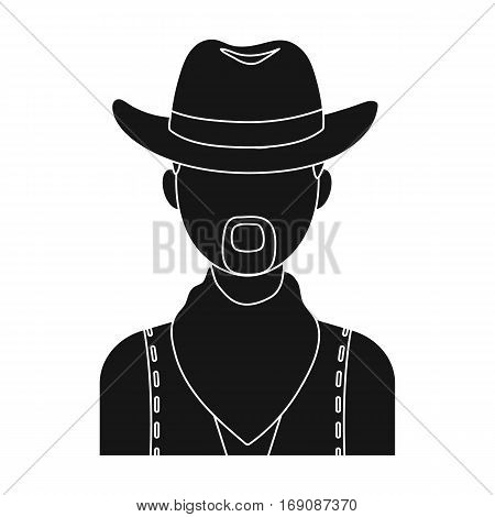 Cowboy icon in monochrome design isolated on white background. Rodeo symbol stock vector illustration.
