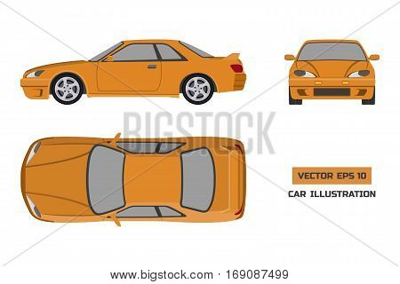 Orange car on a white background. Top front and side view. The vehicle in flat style. Vector illustration