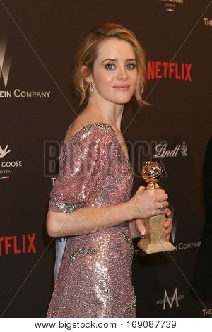 LOS ANGELES - JAN 8:  Clare Foy at the Weinstein And Netflix Golden Globes After Party at Beverly Hilton Hotel Adjacent on January 8, 2017 in Beverly Hills, CA