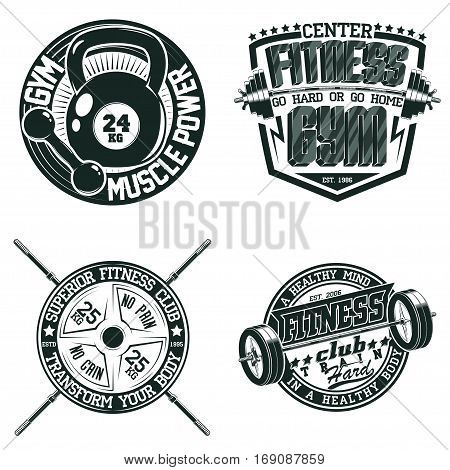 Set of Vintage t-shirt graphic designs,  grange print stamps, fitness typography emblems,   Creative gym sports logos, Vector