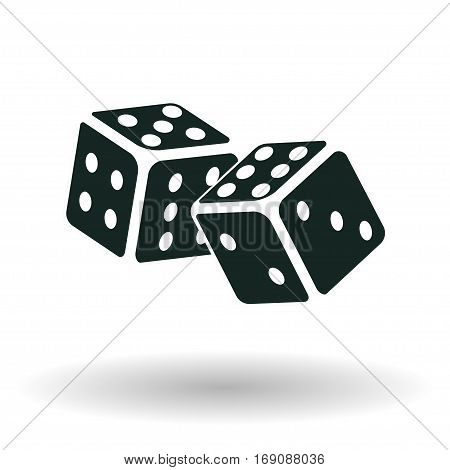 Dice icon, Isometric monochrome cubes with white pips on white background, vector