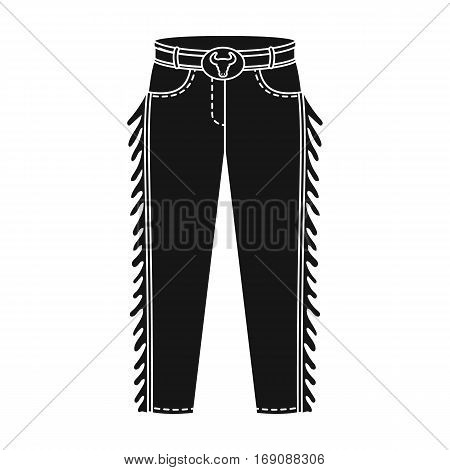 Cowboy jeans icon in monochrome design isolated on white background. Rodeo symbol stock vector illustration.