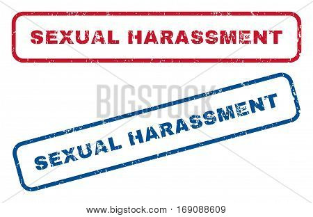 Sexual Harassment text rubber seal stamp watermarks. Vector style is blue and red ink caption inside rounded rectangular banner. Grunge design and scratched texture. Blue and red signs.