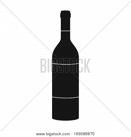 Bottle of red wine icon in black design isolated on white background. Wine production symbol stock vector illustration.