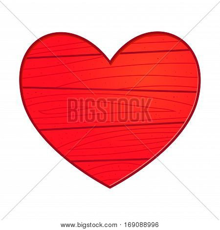 Vector stock of a heart made from wood in red color