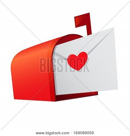 Vector stock of a red mail box with a love letter inside