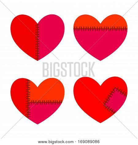 Vector stock of hearts with stitches and patches