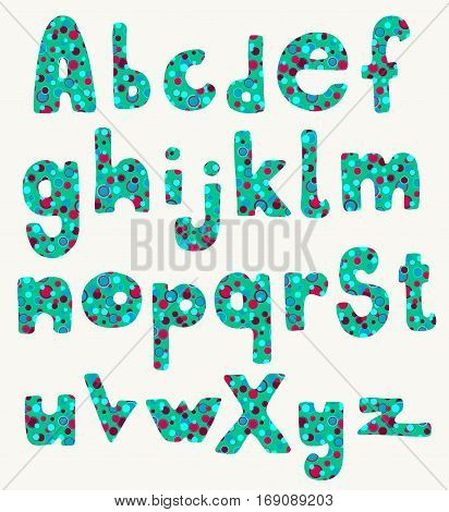 Full set of hand drawn fat cartoon letters in retro teal and red summer colors.