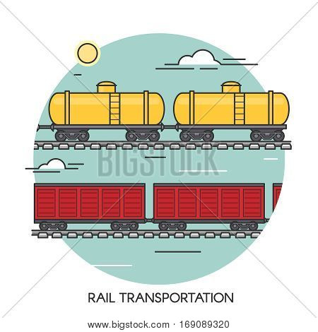 Freight wagons flat outline concept. Cargo train global transport logistics.
