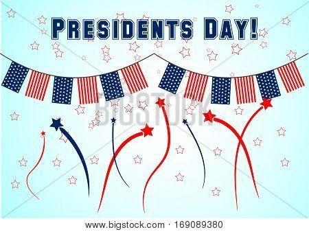 Presidents Day banner with colored garland and salute. Vector illustration for patriotic festival