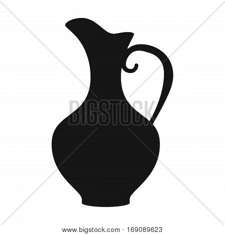 Clay jug of wine icon in black design isolated on white background. Wine production symbol stock vector illustration.