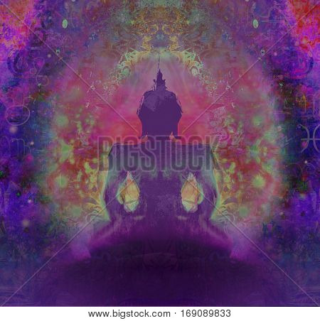 Buddha silhouette against Dark purple background , raster