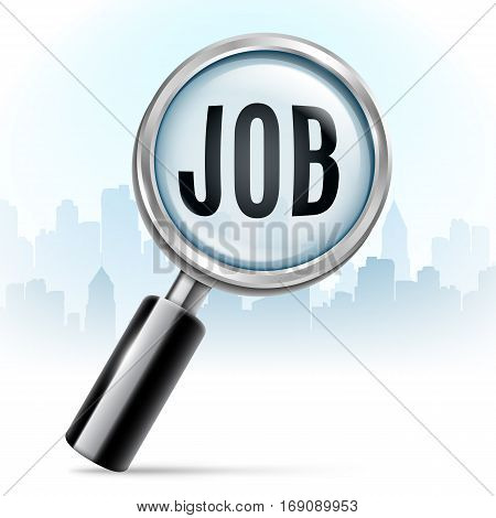 Magnifying glass searching for job on city background