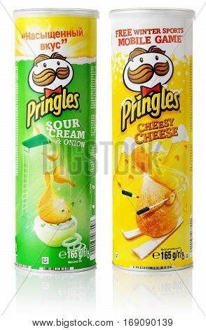 TULA RUSSIA - APRIL 7 2014: Two tubes of Pringles potato chips isolated on white background. Pringles are produced by Kellogg