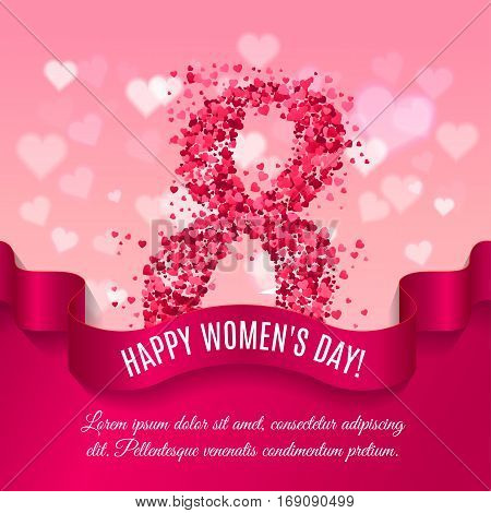 Women day background with silk ribbon and 8 match made of pink paper hearts. Greeting card for women or mother's day. Vector illustration
