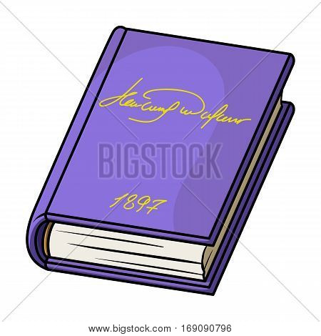 Violet book icon in cartoon design isolated on white background. Books symbol stock vector illustration.