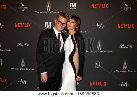 LOS ANGELES - JAN 8:  Harry Hamlin, Lisa Rinna at the Weinstein And Netflix Golden Globes After Party at Beverly Hilton Hotel Adjacent on January 8, 2017 in Beverly Hills, CA