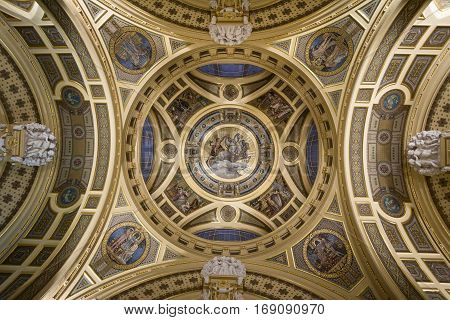 BUDAPEST, HUNGARY - DECEMBER 18, 2016: Decorative ceiling in the entrance of Szechenyi Baths in Budapest Hungary