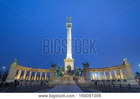 Heroes square (Hosok Tere) in Budapest, Hungary, by night