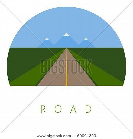 Vector Minimal Poster: Road Retro Illustration Background