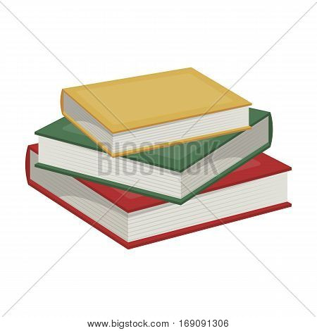 Stack of books icon in cartoon design isolated on white background. Library and bookstore symbol stock vector illustration.