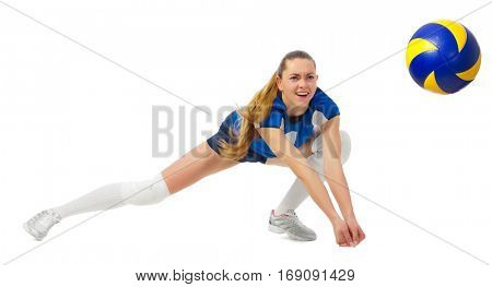 Young woman volleyball player isolated on white