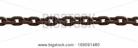 Close up of seamless old rusty chain isolated on white background