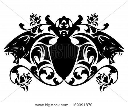 roaring panther vector heraldic emblem - black animal heads and decorative shield