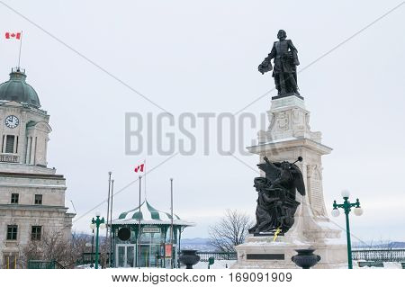 Samuel de Champlain statue in Quebec City under heavy snow