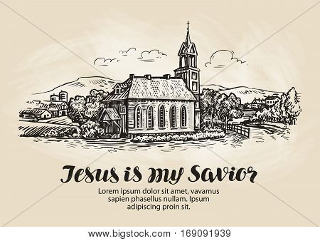 Church, landscape sketch. Religion symbol Vector illustration