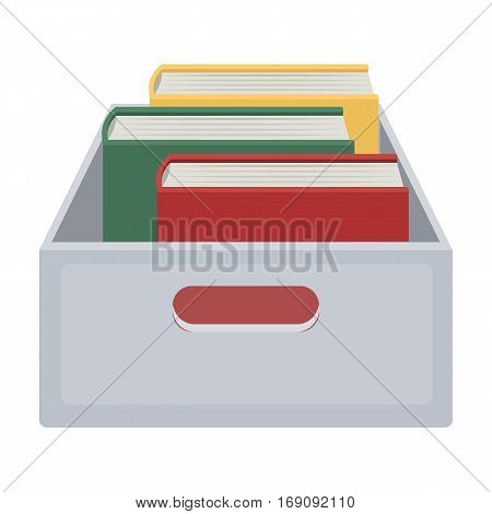 Books in box icon in cartoon design isolated on white background. Library and bookstore symbol stock vector illustration.
