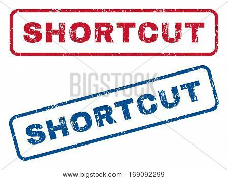 Shortcut text rubber seal stamp watermarks. Vector style is blue and red ink tag inside rounded rectangular banner. Grunge design and dirty texture. Blue and red stickers.