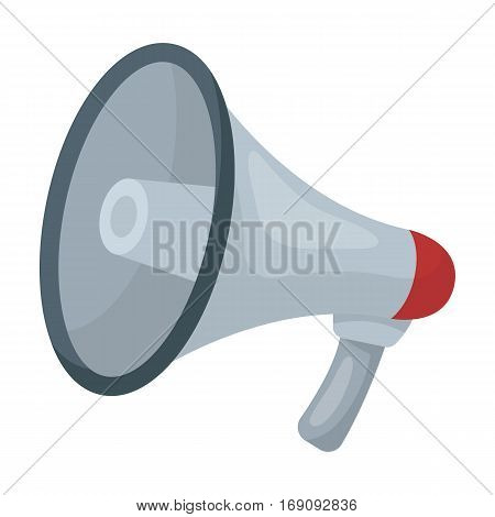 Megaphone icon in cartoon design isolated on white background. Police symbol stock vector illustration.