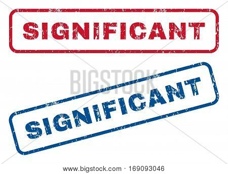 Significant text rubber seal stamp watermarks. Vector style is blue and red ink tag inside rounded rectangular shape. Grunge design and scratched texture. Blue and red emblems.