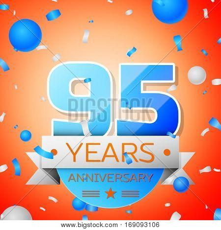 Ninety five years anniversary celebration on orange background. Anniversary ribbon