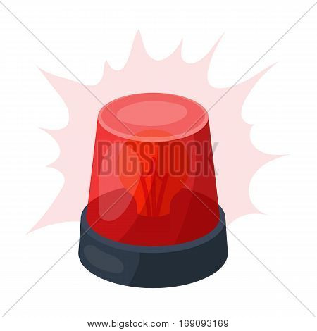 Emergency rotating beacon light icon in cartoon design isolated on white background. Police symbol stock vector illustration.