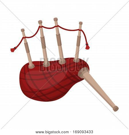 Scottish bagpipes icon in cartoon design isolated on white background. Scotland country symbol stock vector illustration.