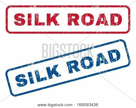 Silk Road text rubber seal stamp watermarks. Vector style is blue and red ink tag inside rounded rectangular shape. Grunge design and dust texture. Blue and red emblems.
